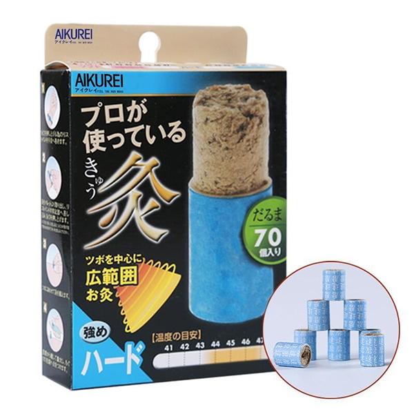 日本aikurei进口纸管艾灸粒妇科宫寒腰腿经络腹部痛经悬灸贴70壮